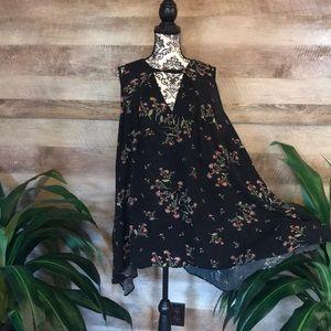 Free People Black Floral Trapeze Dress